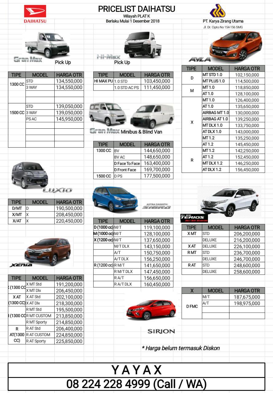 Harga Mobil Daihatsu By Yayax